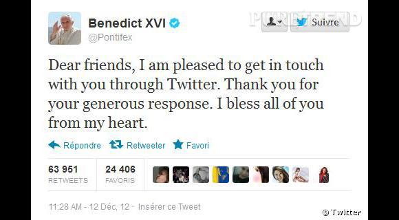 Le compte Twitter du Pape : en trois semaines, il a gagné 1 342 999 abonnés !