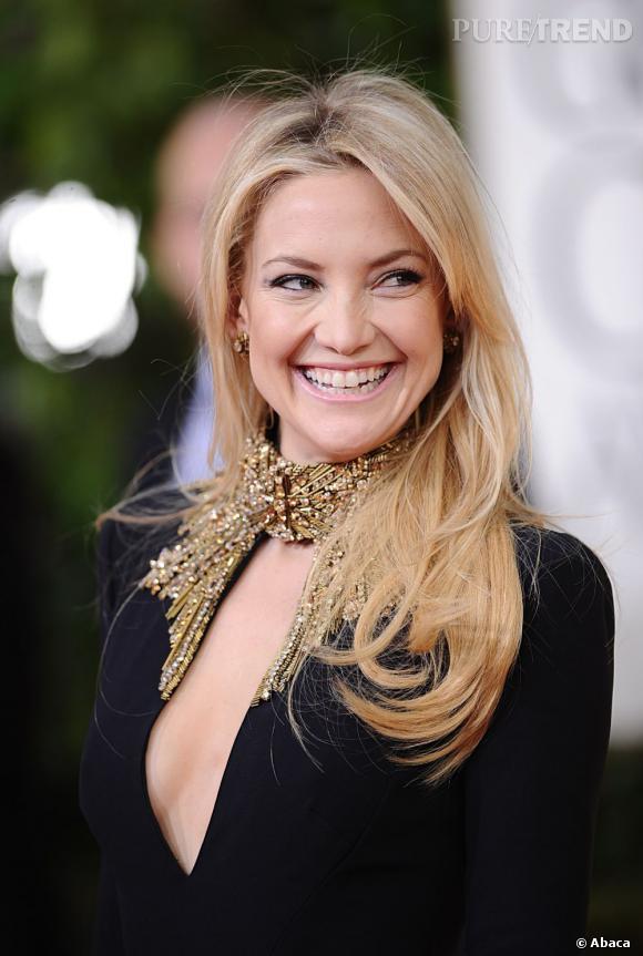 Les coiffures des Golden Globes 2013 : Joli brushing pour Kate Hudson, sexy dans sa robe Alexander McQueen.