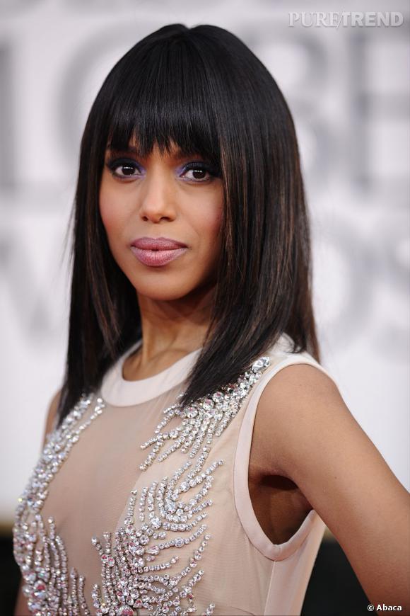 """Kerry Washington aux Golden Globes 2013 : Coiffée d'un carré long ultra-lisse, l'actrice bientôt à l'affiche de """"Django Unchained"""" était sur son trente-et-un."""
