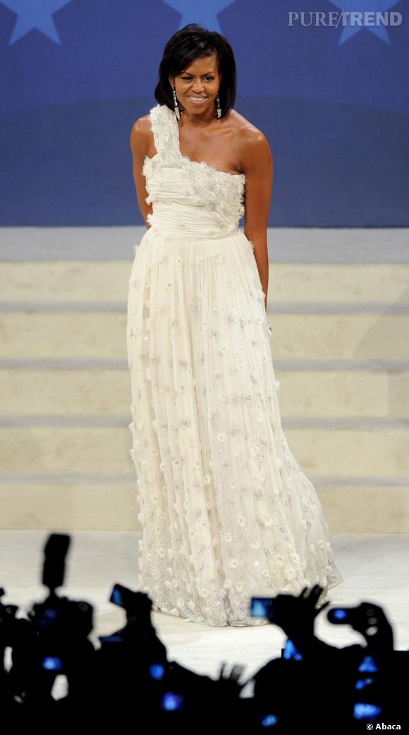 Michelle Obama en Jason Wu lors du grand bal de l'investiture en 2009.