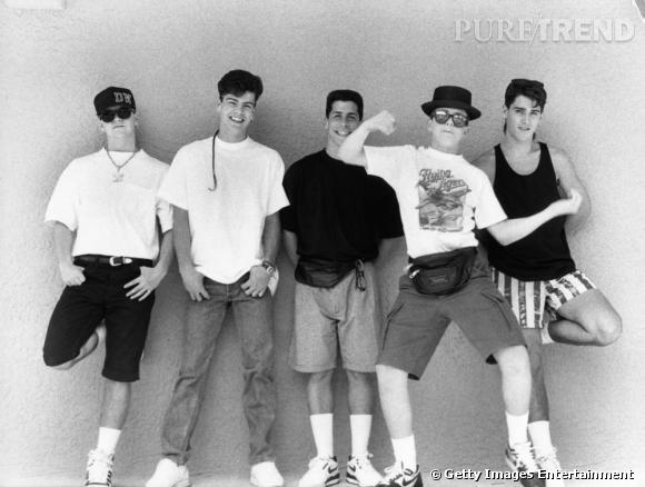 Les New Kids on The Block en mai 1989. Coup de coeur pour la queue de rat et la banane.