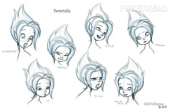 La coiffure de Cristal en croquis.