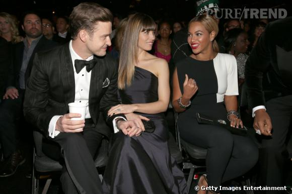 Justin Timberlake, Jessica Biel et Beyoncé aux Grammy Awards 2013 le 10 février au Staples Center de Los Angeles.