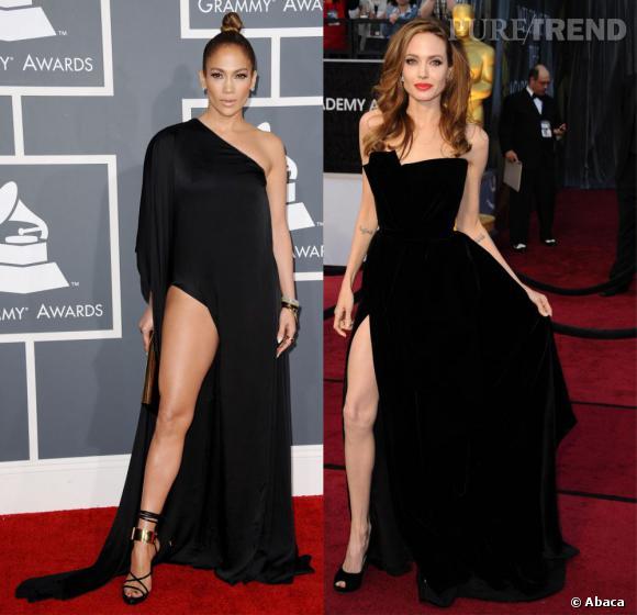 Jennifer Lopez pique la pose d'Angelina Jolie lors des Grammy Awards 2013.