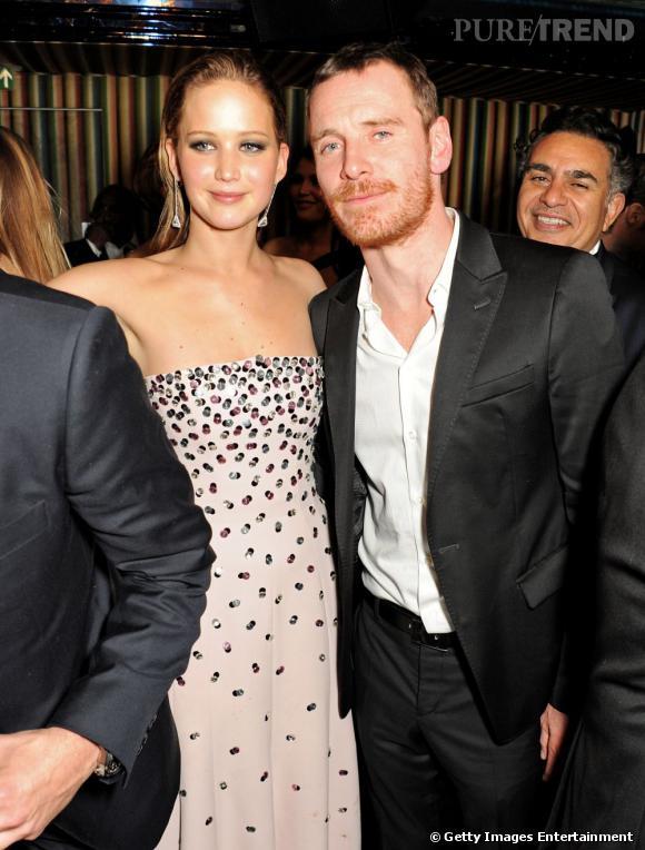 Jennifer Lawrence et Michael Fassbender à l'after party des BAFTA 2013 à Londres le 10 février.