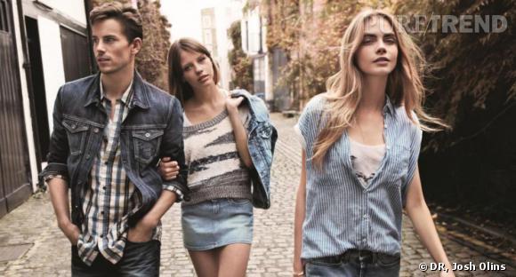 Cara Delevingne, Mia Goth et Jeremy Young posent pour la campagne Printemps-Eté 2013 de Pepe Jeans.