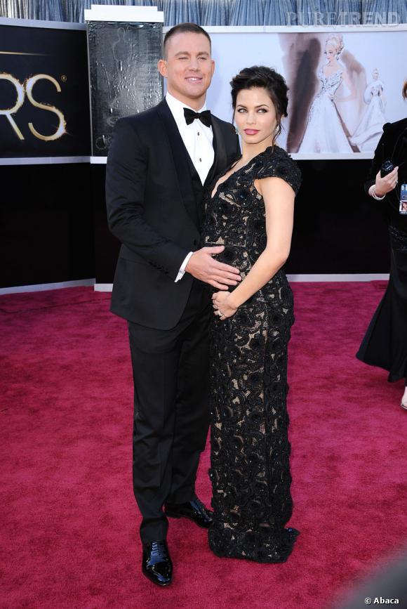Channing Tatum en Gucci et Jenna Dewan-Tatum aux Oscars 2013.