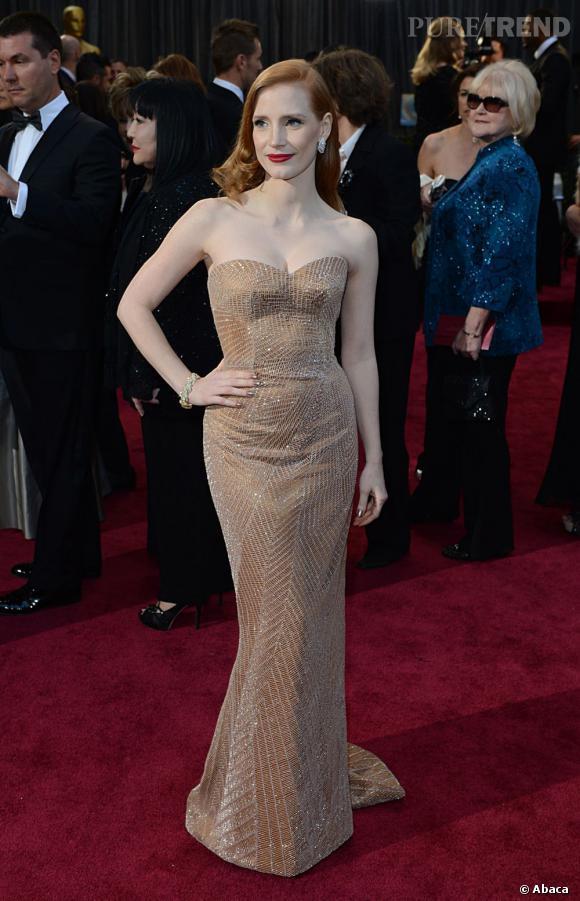 Jessica Chastain aux Oscars 2013 en Giorgio Armani.
