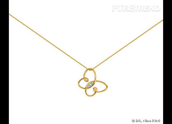"""Nina Ricci Printemps-Été 2013.        Collier collection """"Jardin d'été"""" en plaqué or, 139€ ou en argent massif, 149€."""