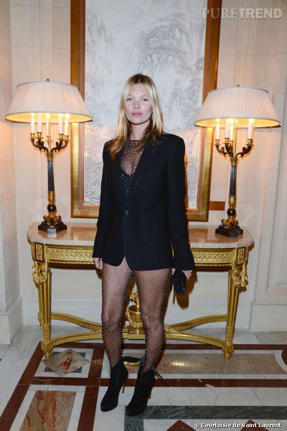 """Kate Moss  habillée en Saint Laurent par Hedi Slimane lors de la soirée """"CR Fashion Book Issue 2""""."""
