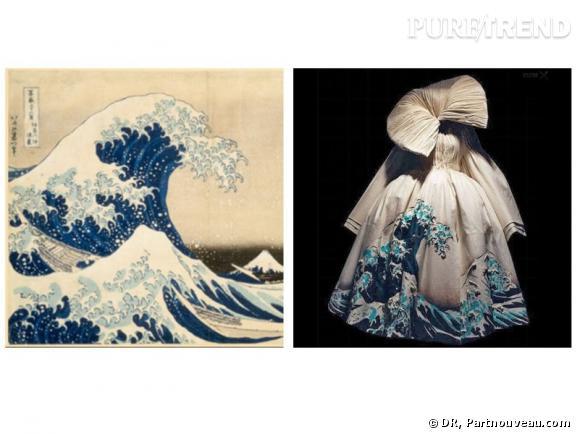 A Gauche La Gravure Sur Bois La Grande Vague De Kanagawa De 1830 1832 A Droite La Robe A Imprime De La Collection Christian Dior Couture 2007 Puretrend