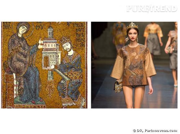 A gauche, la mosaïque de 1170 de la Cathédrale de Monreale en Sicile. A droite, le défilé Automne-Hiver 2013/2014 Dolce & Gabbana.