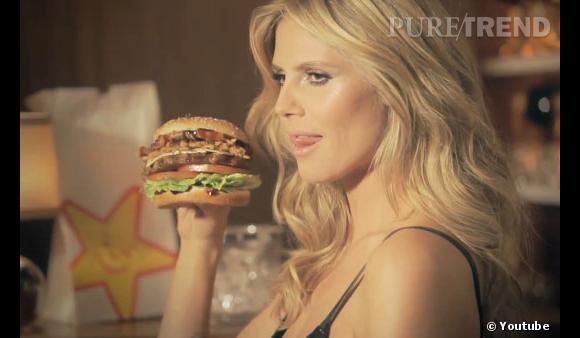 Heidi Klum aime les hamburgers. Elle aime tellement ça, qu'elle joue dans une publicité sexy Carl's Jr.