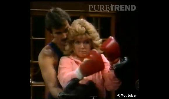 Rétro beauté Les Feux de l'Amour :  Dans la série, on aime aussi faire du sport en duo, surtout coiffé d'une choucroute.