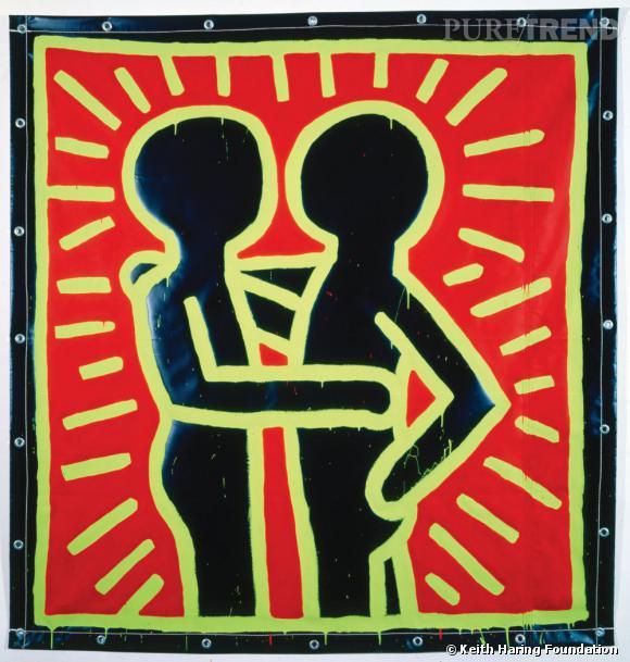 Keith Haring, Untitled, Septembre 1982. Collection privée. Peinture vinyle sur bâche vinyle.