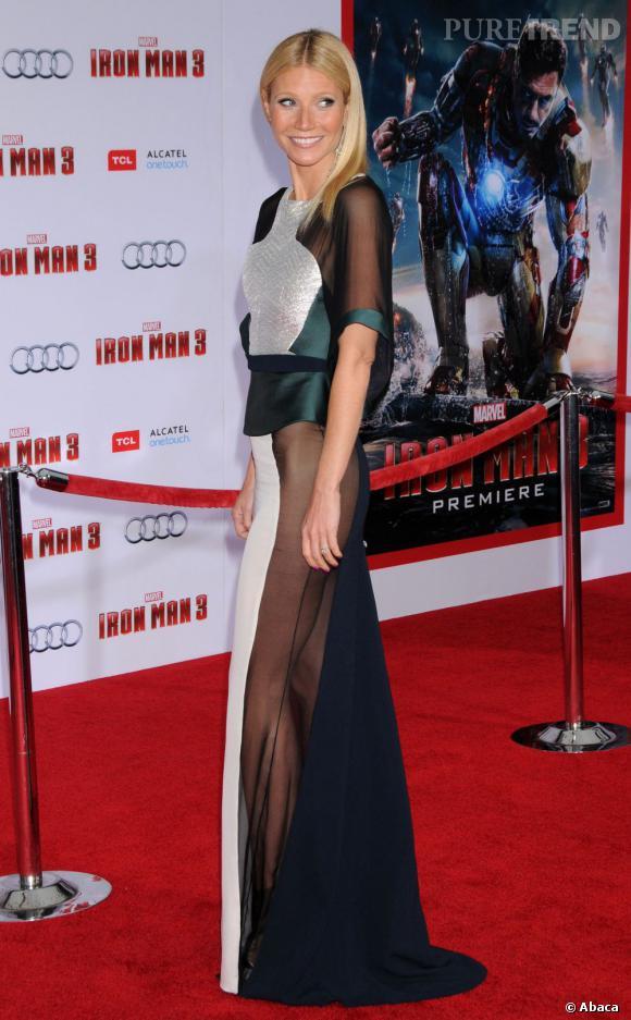 """Le top transparent  : à la première de """"Iron man 3"""" à Los Angeles, Gwyneth Paltrow a fait sensation dans une création Antonio Berardi (Autome-Hiver 2013/2014)."""