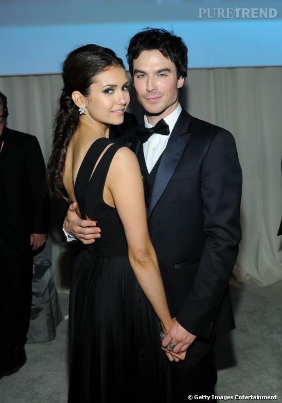 Nina Dobrev et Ian Somerhalder au gala annuel qu'organise Elton John, ici en février 2012. Aujourd'hui, le couple s'est séparé !