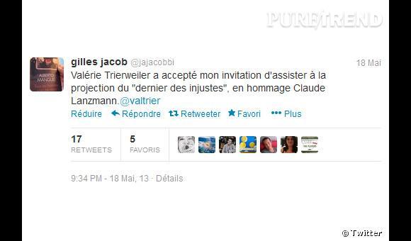 Gilles Jacob lui-même a annoncé la venue de Valérie Trierweiler.
