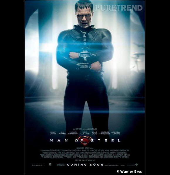 Michael Shannon joue le général Zod, enchaîné sur le poster promotionnel.