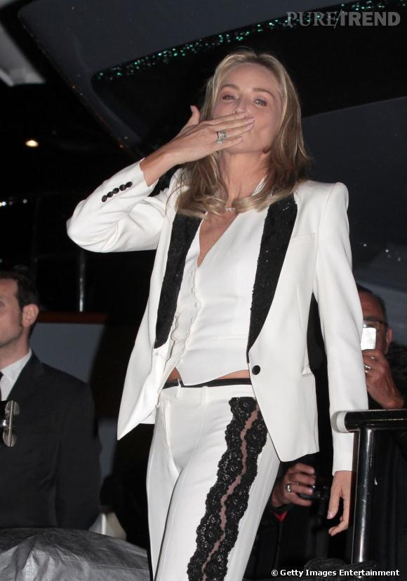 Sharon Stone à la soirée Roberto Cavalli.