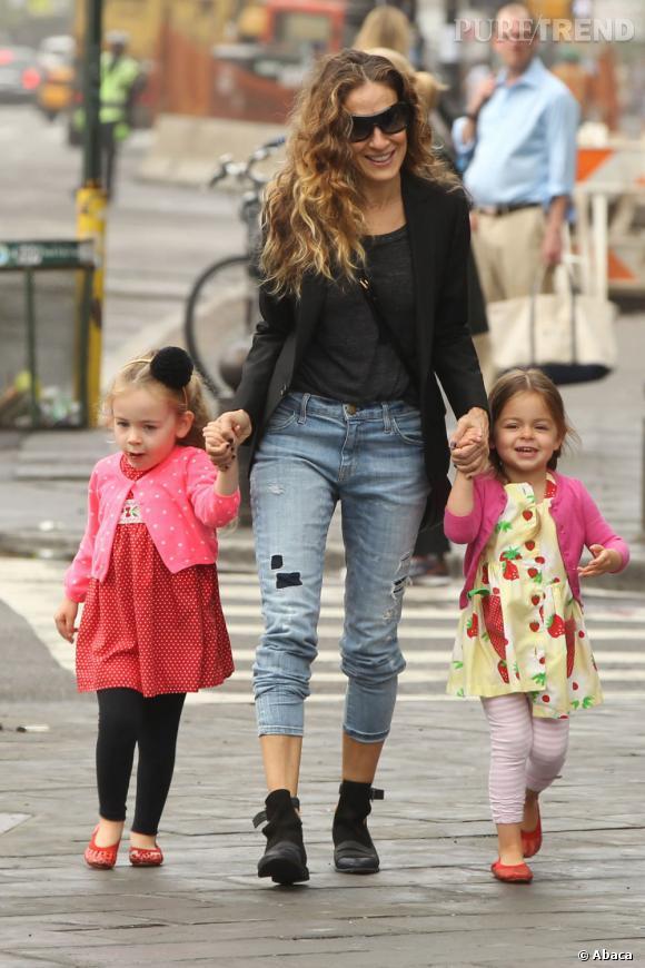 Sarah Jessica Parker et ses si jolies jumelles, Tabitha et Marion.