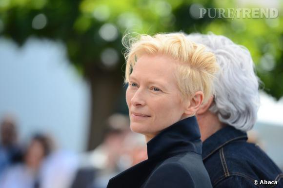 """Tilda Swinton à Cannes pour le photocall de """"Only Lovers Left Alive""""."""