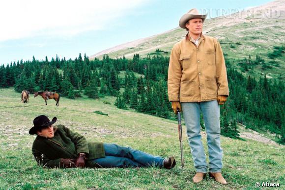 """Jake Gyllenhaal et Heath Ledger sur le tournage du film """"Le Secret de Brokeback Mountain""""."""