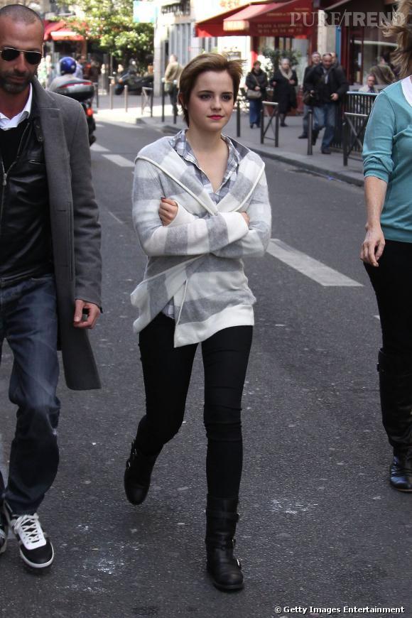 Le pire look de rue : Emma aurait-elle pris de la cortisone ? Côté look, on dirait un mec.