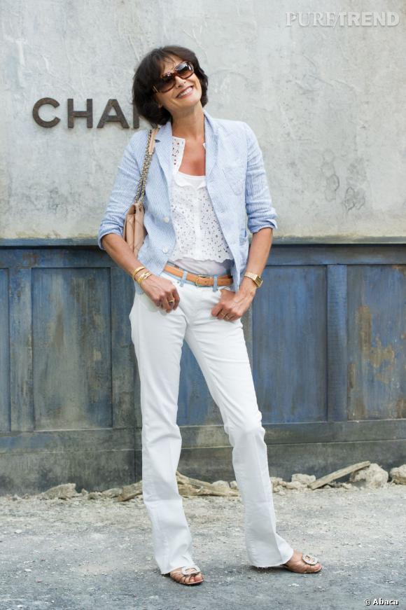 Inès de la Fressange au défilé Chanel Haute Couture Automne Hiver 2013-2014.