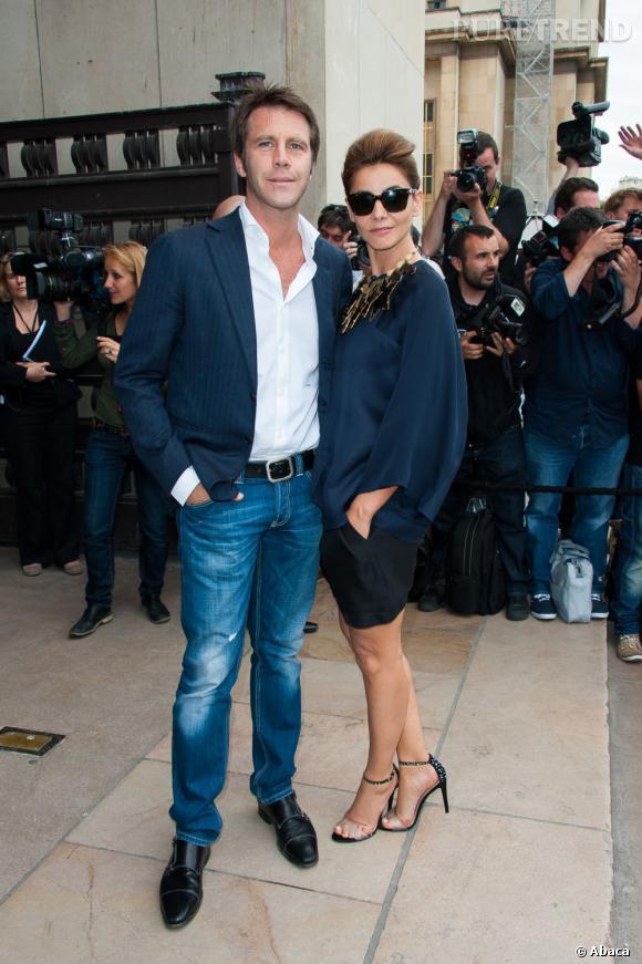 Emmanuel-Philibert de Savoie et Clotilde Courau au défilé Giorgio Armani Privé Haute Couture Automne Hiver 2013-2014.