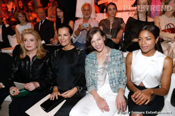 Catherine Deneuve, Roberta Armani, Milla Jovovich et Naomie Harris au défilé Giorgio Armani Privé Haute Couture Automne Hiver 2013-2014.