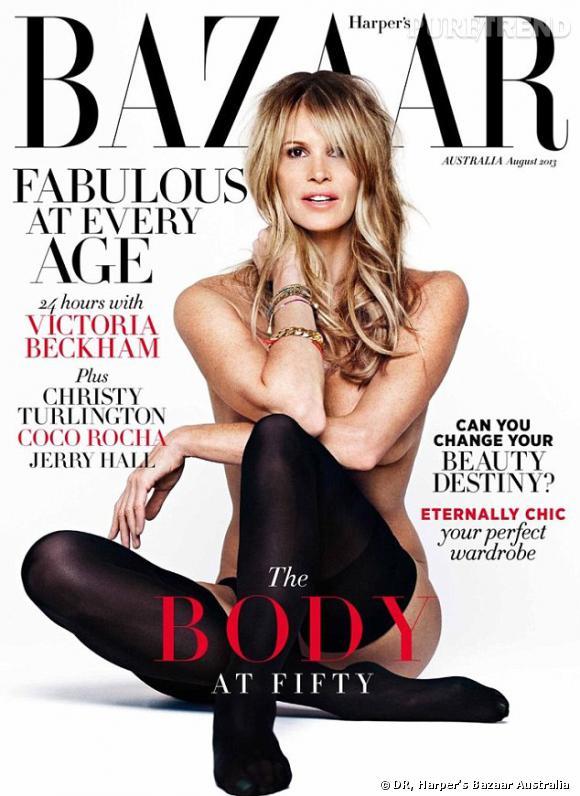 """Elle Macpherson, The Body is back en couverture du numéro """"Fabuleuse à tout âge"""" du Harper's Bazaar Australie."""