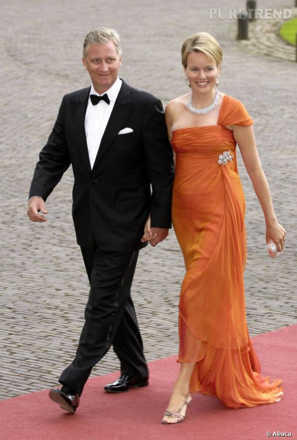 La Princesse Mathilde de Belgique et son mari le Prince Philippe de Belgique aux 40 ans de Willem-Alexander.