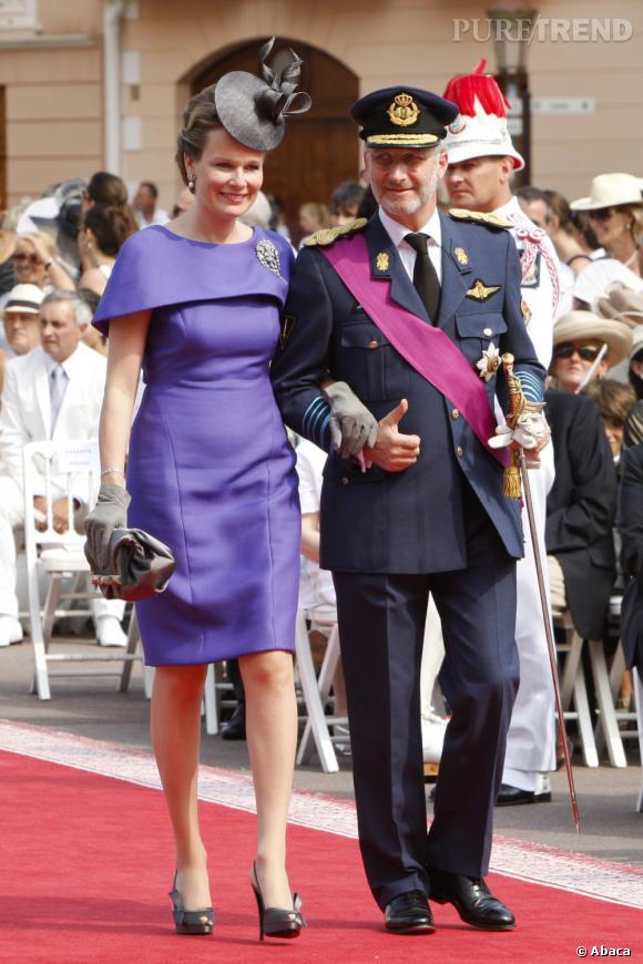 La Princesse Mathilde de Belgique et son mari le Prince Philippe de Belgique au mariage de Charlène de Wittstock et Albert de Monaco.