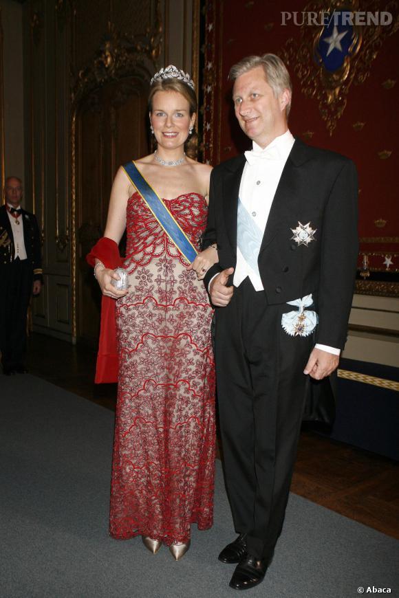 La Princesse Mathilde de Belgique et son mari le Prince Philippe de Belgique à un concert à Stockholm, en 2006.