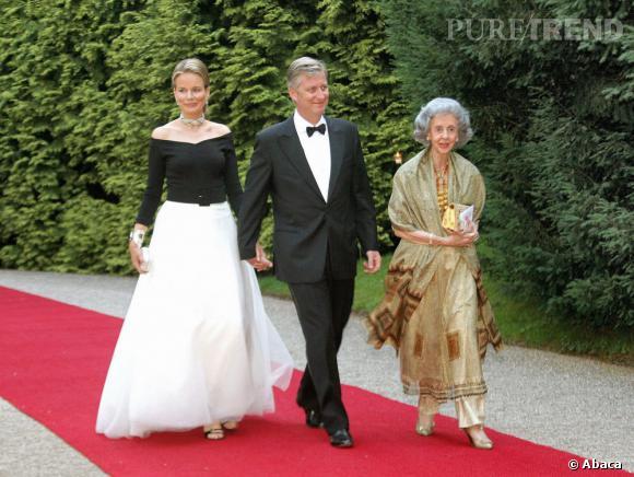 La Princesse Mathilde de Belgique, particulièrement élégante pour célébrer les noces d'argent du Grand Duc Henri et de la Grande Duchesse Marie Thérèse.