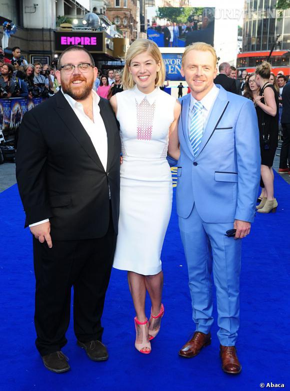 """Nick Frost, Rosamund Pike et Simon Pegg à la première de """"The World's End""""."""