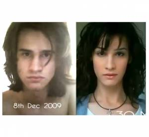 Pendant un peu plus d'une minute trente, on découvre un jeune homme viril se transformer en une ravissante jeune femme.