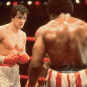 "Sylvester Stallone en plein combat dans ""Rocky""."
