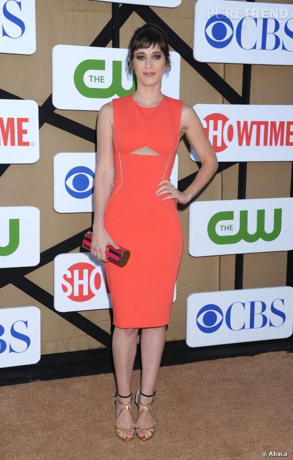 """Lizzy Caplan pour la future série de Showtime """"Masters of Sex"""" à la soirée d'été CW, CBS et Showtime pour la Television Critics Association."""