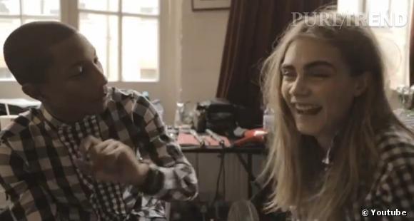 Cara Delevingne et Pharrell Williams, un duo complice dans le  Vogue  UK de septembre 2013.