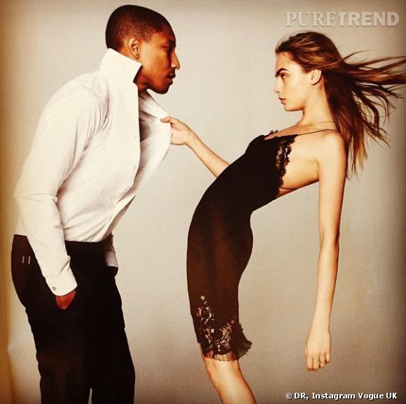 Pour le  Vogue  UK de ce mois de septembre, Pharrell Williams a posé avec le top incontournable du moment Cara Delevingne.