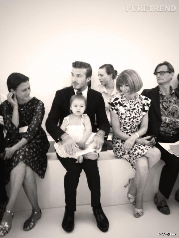 David et Harper Beckham au défilé Victoria Beckham dimanche 8 septembre posent avec Anna Wintour.