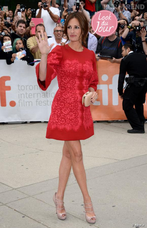 """Julia Robert à la première de """"Le temps d'un été"""" au Festival du film de Toronto le 9 septembre 2013."""