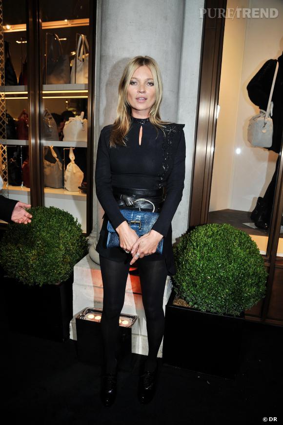 Kate Moss à l'inauguration de la boutique Longchamp sur Regent Street, à Londres.
