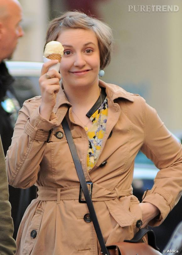 """Lena Dunham sur le tournage de la série """"Girls""""."""