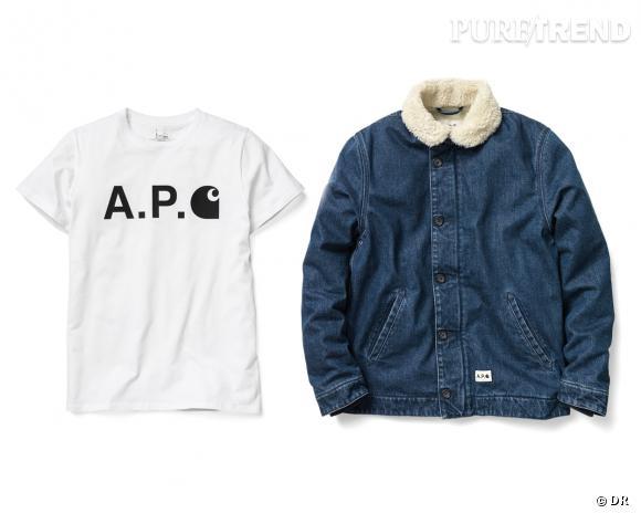 Collaboration Homme : A.P.C x Carhartt, t-shirt et veste, 70 et 270 €
