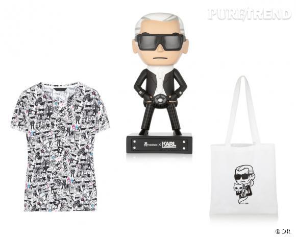 T-shirt, figurine et sac Karl Lagerfeld x Tokidoki, 120, 149 et 60 € sur Net-a-porter.com