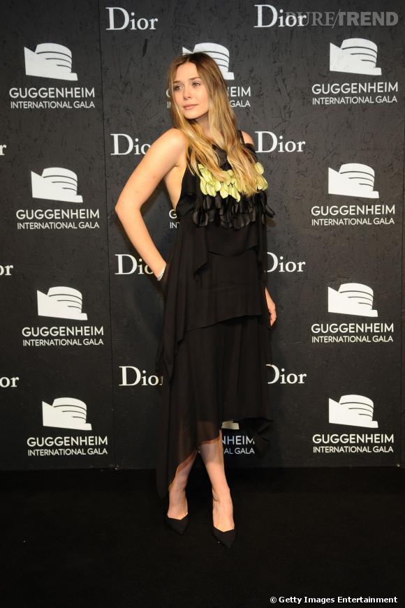 """Elizabeth Olsenau gala """"Made Possible By Dior"""" au musée Guggenheim de New York."""