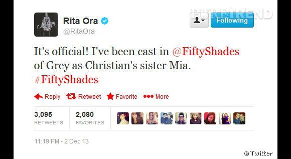 Rita Ora a elle-même annoncé la nouvelle à ses followers sur Twitter.